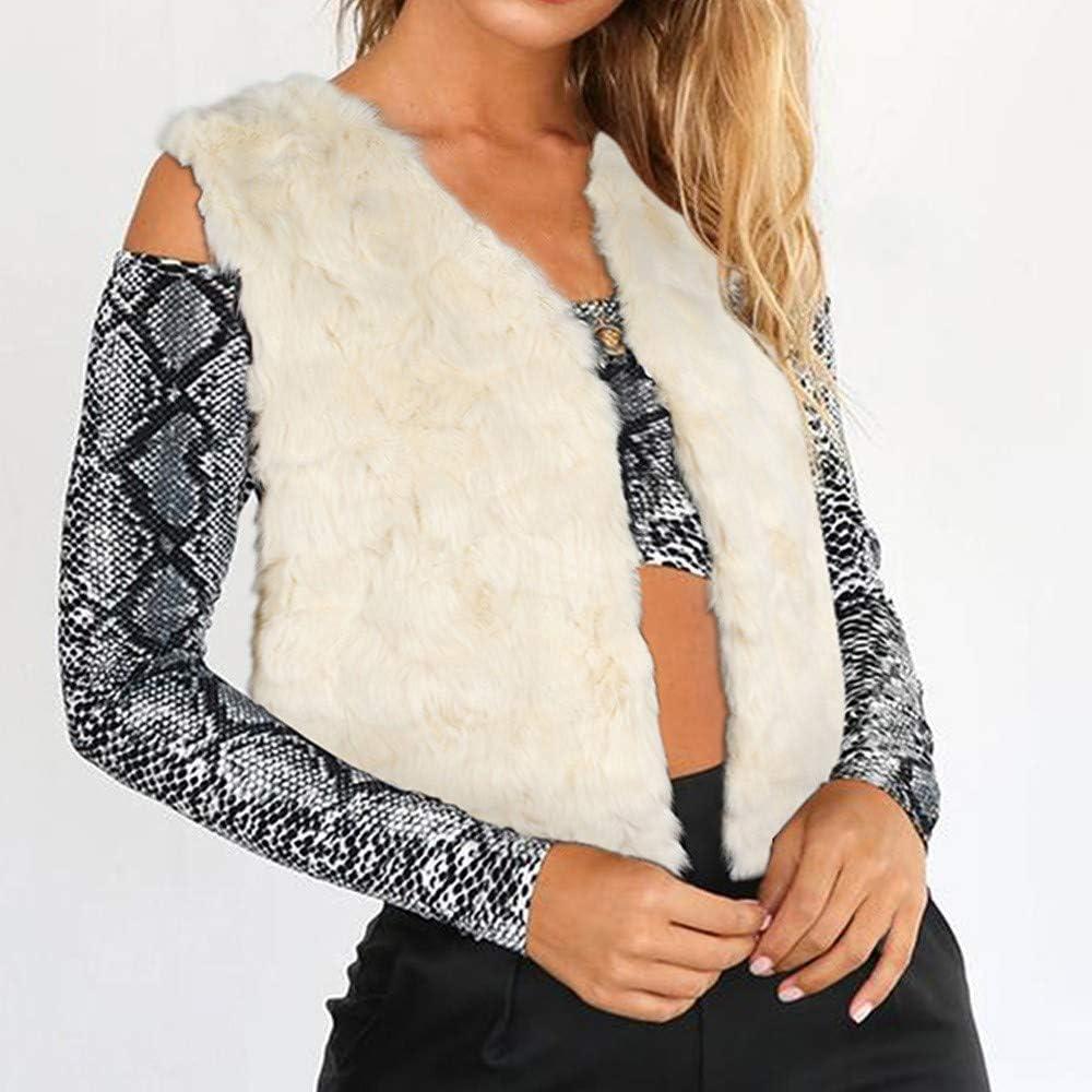 Sonnena Women Lady Faux Fur Vest Coat Short Winter Warm Jacket Solid