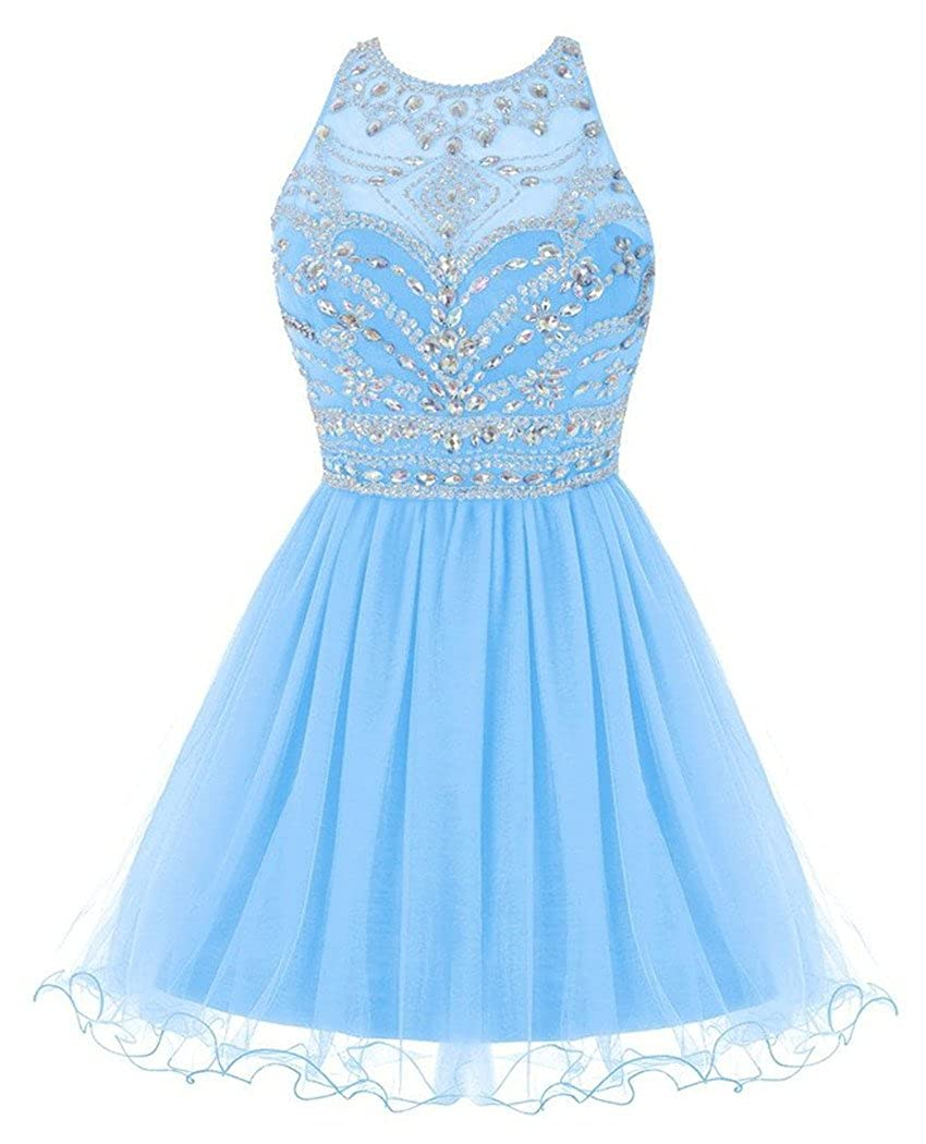 Fashionbride Women's Crystals jewel Homecoming Dresses 2016 Short Prom Gowns F256