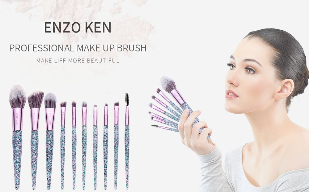 Makeup Brushes with Cosmetic Case ENZO KEN 10 Pcs Synthetic Foundation Powder Concealers Eye Shadows Makeup Brush Sets