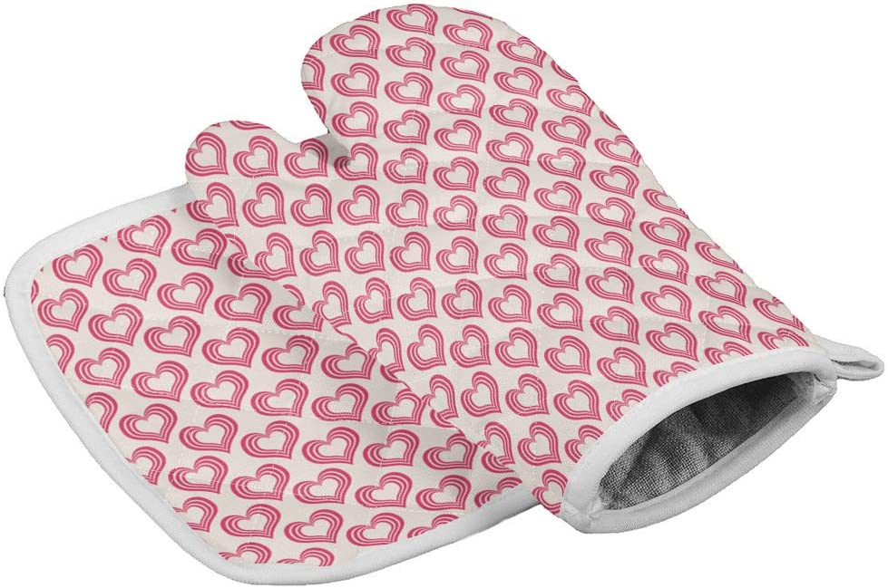 Crystal Emotion Kitchen Oven Mitts and Pot Holders Sets, Red Heart Shaped Pattern Heat Resistant Oven Gloves and Potholders Hot Pads Set Non-Slip Mittens for Cooking BBQ Baking Grilling