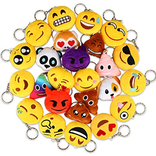 Dreampark Emoji Keychains Mini Poop Emoji Key Chain Plush Pillows for Kids Party Favors/Birthday Party Supplies - Christmas Party Decorations 2