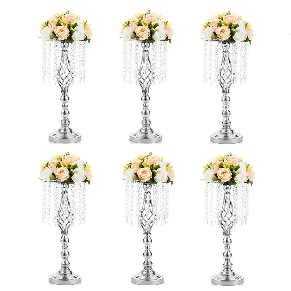 Soporte de Flores de Centro de Mesa para Boda//Gu/ía de Fiesta Decoraci/ón de Mesa Central Nuptio Jarr/ón de Metal de 2 Piezas con L/ágrima de Cristal