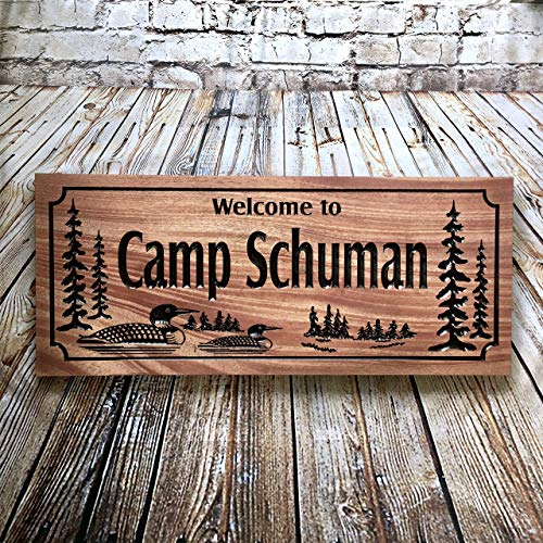 Personalized Outdoor Cabin Sign Wooden Carved Sign Personalized Rustic Welcome Sign