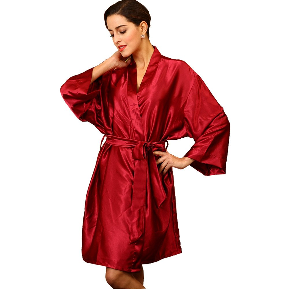 SUNBABY Women Silk Satin Nightgown Short Kimono Robe Sexy Sleepwear Fashion Dressing Gown Big Size (Red)