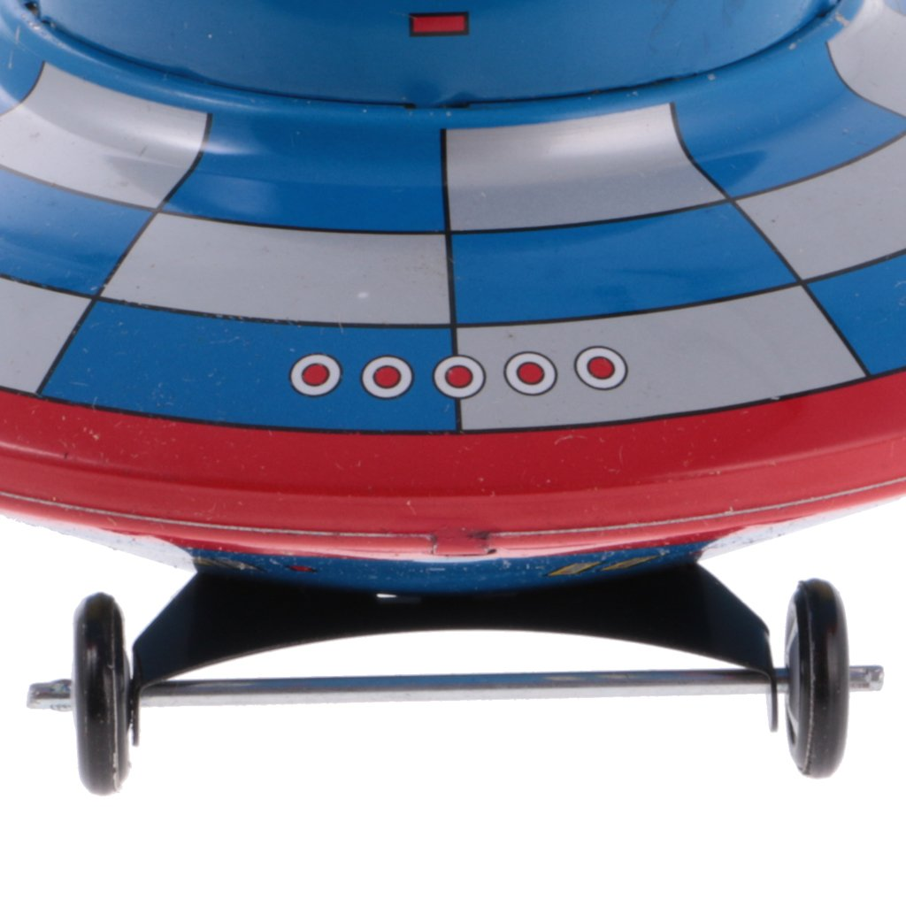 MagiDeal Classic Space Ship Satellite Collectible Clockwork Wind Up Tin Toy for Kids