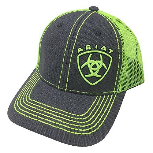 ARIAT Kid's Lime Green Signature Logo Cap, Grey, Lime Green, OS (Cap Signature Logo)