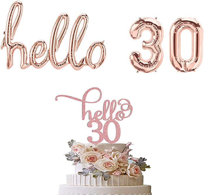 Hello 30 Balloon Rose Gold Hello 30 Cake Topper 30th Birthday Party Decorations Number 30 Letter Hello Foil Balloon Banner 30th Anniversary Event Backdrop Decor Supplies YiCTe