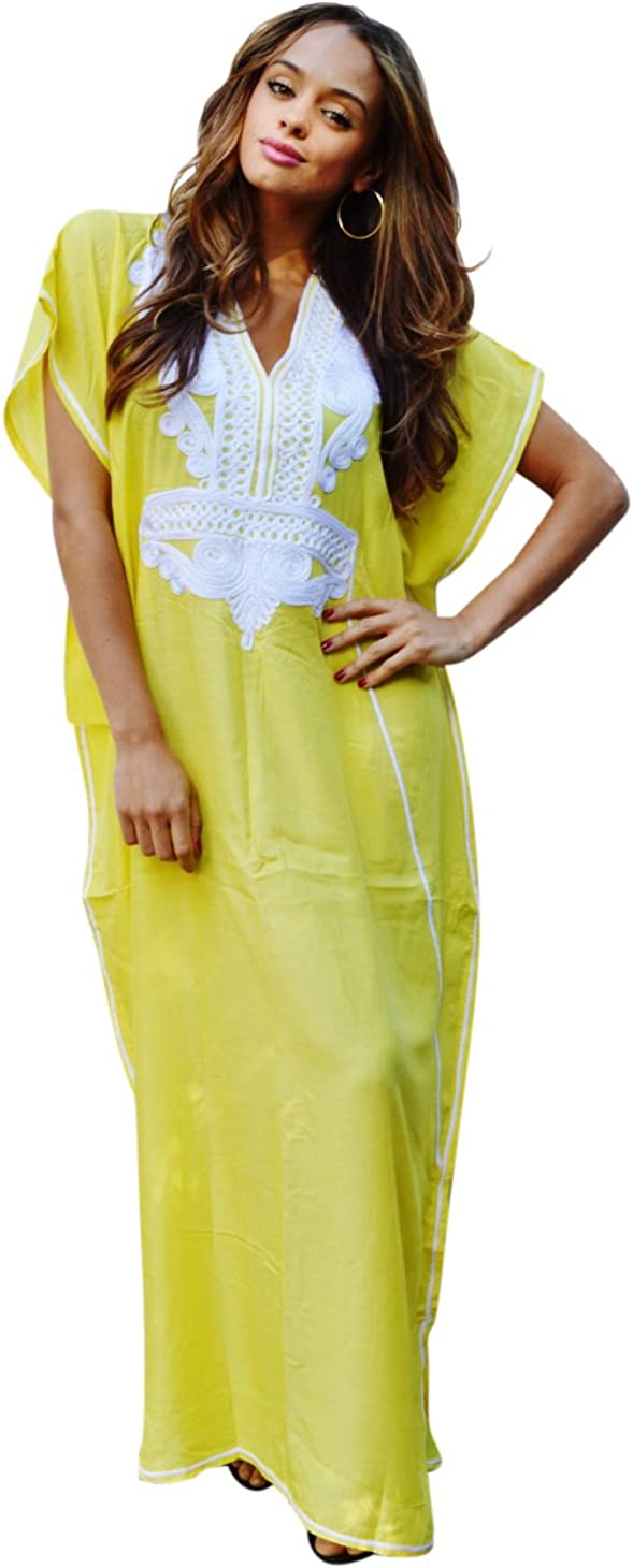 Soft Beach DressES Yellow Floral Kaftan BOHEMIAN Kimono Sleeves Beach Coverup 2X