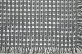 70 x 120 (Rectangle) Homespun Tablecloth, Hand Loomed, 100% Cotton, Gray/White