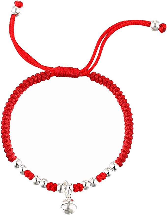 Amazon.com: S925 Sterling Silver Lucky Bell Red Rope Silver Beads Bracelet for Man&Women, Lovely Bracelet: Clothing