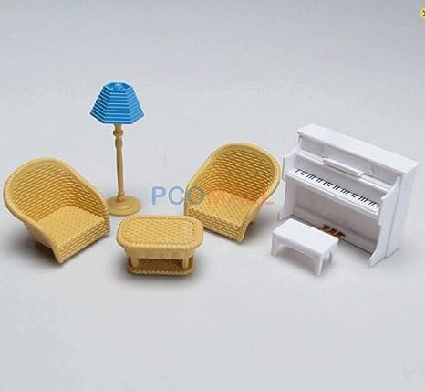 Miniature DollHouse Furniture Piano Sofa Lamp Set For Sylvanian Families 1: 16