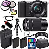 Sony Alpha a5100 Mirrorless Digital Camera with 16-50mm Lens (Black) + Sony E 55-210mm f/4.5-6.3 OSS E-Mount Lens 32GB Bundle 23 - International Version (No Warranty)