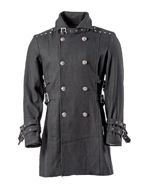 Herren Mantel mit hohem Kragen Schnallen und großen Knöpfen schwarz in verschiedenen Größen Queen of Darkness