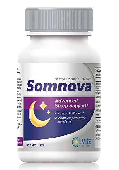 Somnova Natural Sleep Aid with Melatonin and L-Theanine for Peaceful Sleep, Relax Your