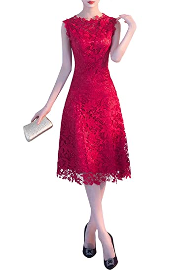 f5ac992a53b ZMingBridal Women s Sleeveless Lace Floral Elegant Cocktail Dress Crew Neck  Knee Length for Party Size2 Burgundy