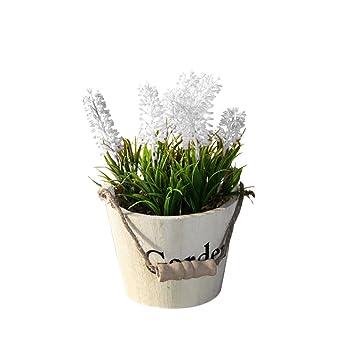 Amazon.de: Homyl Kunstpflanze Lavendel mit Topf -Wohnkultur - Weißer ...