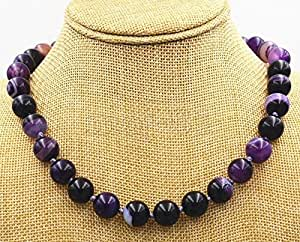 Amazon com: Handmade 12mm Natural Purple Stripe Agate Gemstone Round