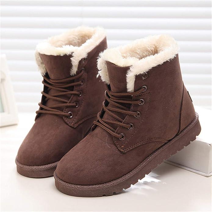 Amazon.com | Ankle Boots for Women Female Fur Lace Up Fenty Platform Snow Boots Suede Plush Sewing Botas | Boots