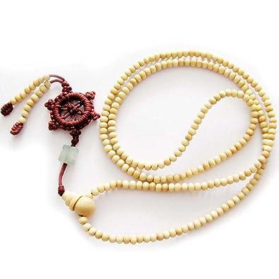 Amazoncom 216 White Wood Beads Tibetan Buddhist Prayer Mala