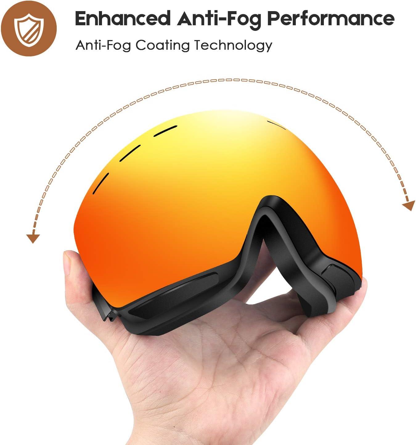UV-Schutz Sonnenbrille Herren Damen Snowboardbrille Erwachsene /über Gl/äser OTG rahmenlose f/ür Ski Anti-Fog DADA-PRO Skibrille