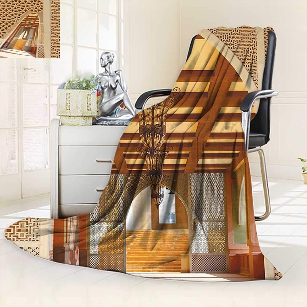 Super Soft Fleece Throw BlanketTraditional Arabian Architecture in Doha Qatar Middle East Oriental Landmark Hotel,Silky Soft,Anti-Static,2 Ply Thick Blanket. (90''x108'')