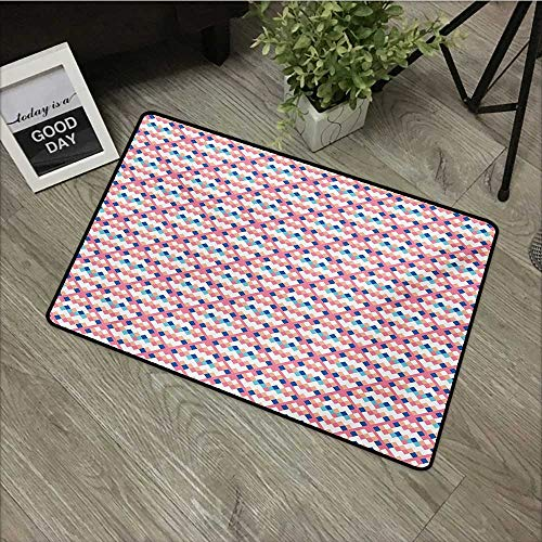 Printed door mat W31 x L47 INCH Geometric,Diamond Shaped Little Squares Artistic Avant Garde Color Boxes Checkered Modern,Multicolor Our bottom is non-slip and will not let the baby slip,Door Mat ()