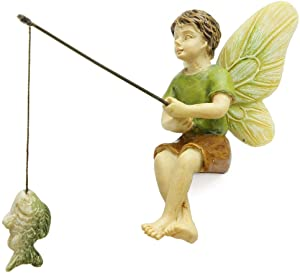 Woodland Knoll Miniature Fairy Garden Fishing Boy Mg253