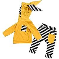 2PCS Baby Outfits Set Baby Boy Girl Cartoon Bunny Ear Hoodies Sweatsuits Tee Shirts Tops+Stripes Pants Sets Clothes 0-24M