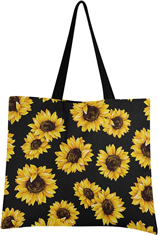 Shopping bag for women Reusable bag Groceries tote bag with sunflowers art print Two side printed artsy bag with colorful botanical print