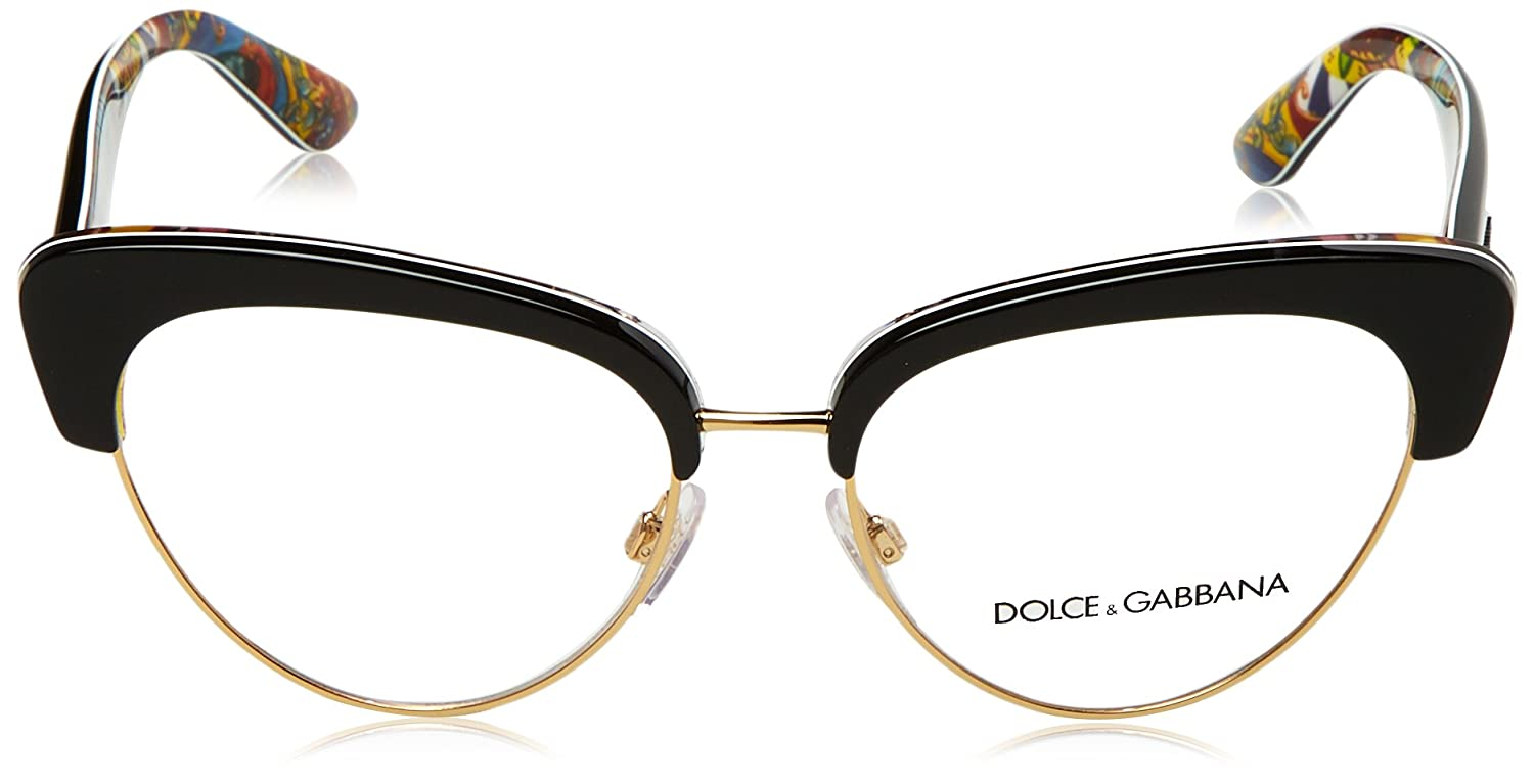 588968f0856 New Dolce Gabbana DG 3247 3033 Black Handcart Frame Round Eyeglasses 53   Amazon.ca  Clothing   Accessories