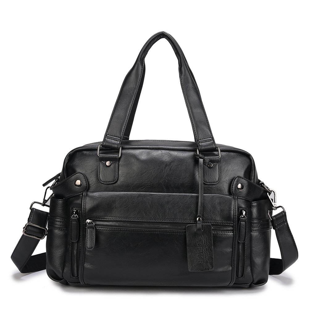 VORMOR PU Leather Duffel Bag Business Travel Briefcase Fashion Tote Luggage Bag (Black)