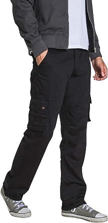 Wash Clothing Company Pantalón Cargo para Hombre - Negro Loose Fit ...