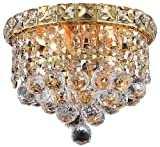 Elegant Lighting 2527F8G/RC Tranquil 7-Inch High 2-Light Flush Mount, Gold Finish with Crystal (Clear) Royal Cut RC Crystal Review