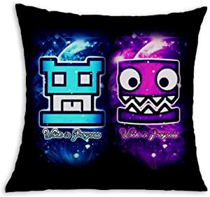 Pink Blue Cube Geo-metry Soft Square Pillow Throw Case 18 X 18 inch Covers Set Cushion Pillowcase Sofa
