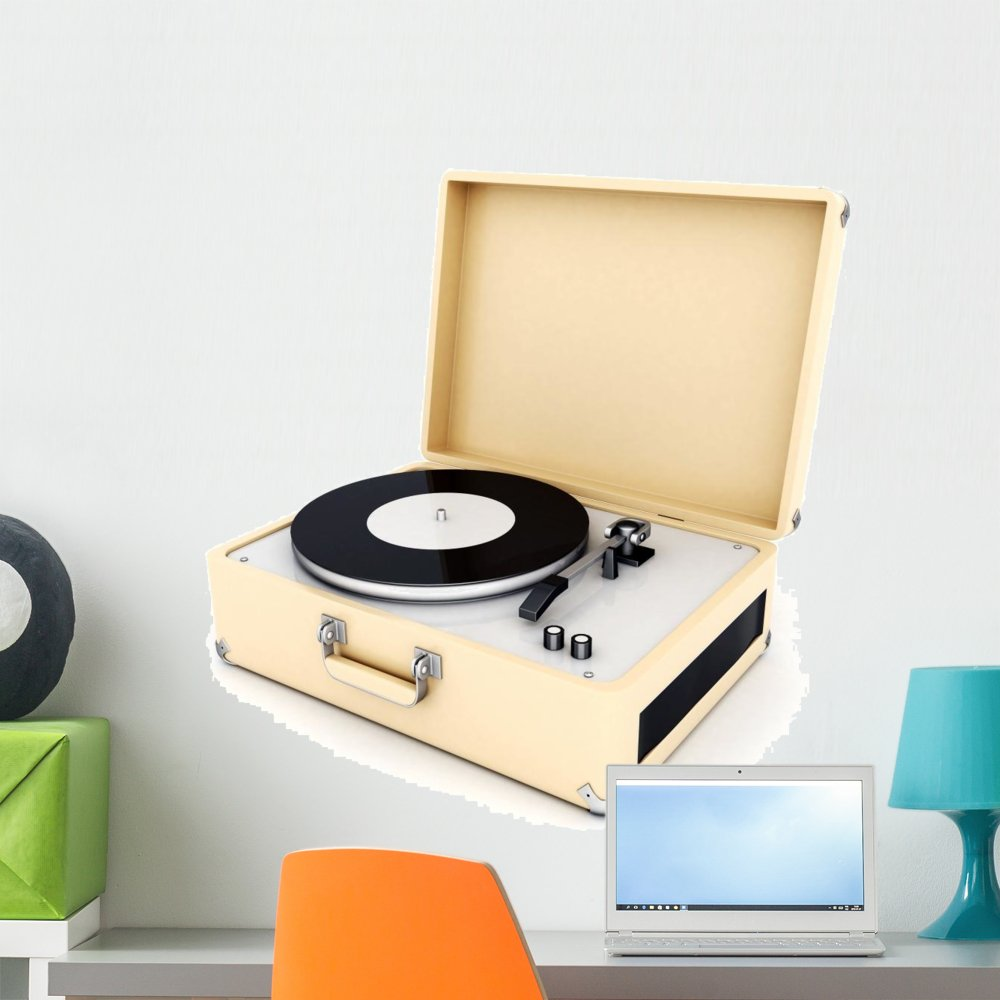 24 in H x 24 in W Wallmonkeys Retro Turntable Wall Decal Peel and Stick Graphic WM276552