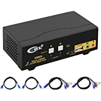 HDMI KVM Switch 2 Port Dual Monitor Extended Display, CKL Dual View PC Monitor Keyboard Mouse Selector Box with Audio Microphone Output and USB 2.0 Hub, 4K@30Hz CKL-922HUA