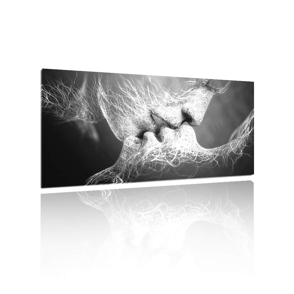 GOUPSKY Kiss Canvas Painting Black and White Picture Frames Romantic Kissing Couple Wall Art Decor Giclee Print Artwork 16X24 inch Stretched and Framed Ready to Hang by GOUPSKY (Image #1)