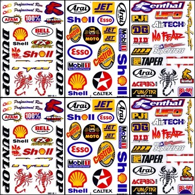 6x racing boat car rc decal kit sticker sheets rcb601 1