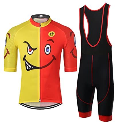 Weimostar Cartoon Naughty Style Half Sleeve Men s Cycling Jersey and Padded  Bib Shorts Set Yellow Red ca842c5e6