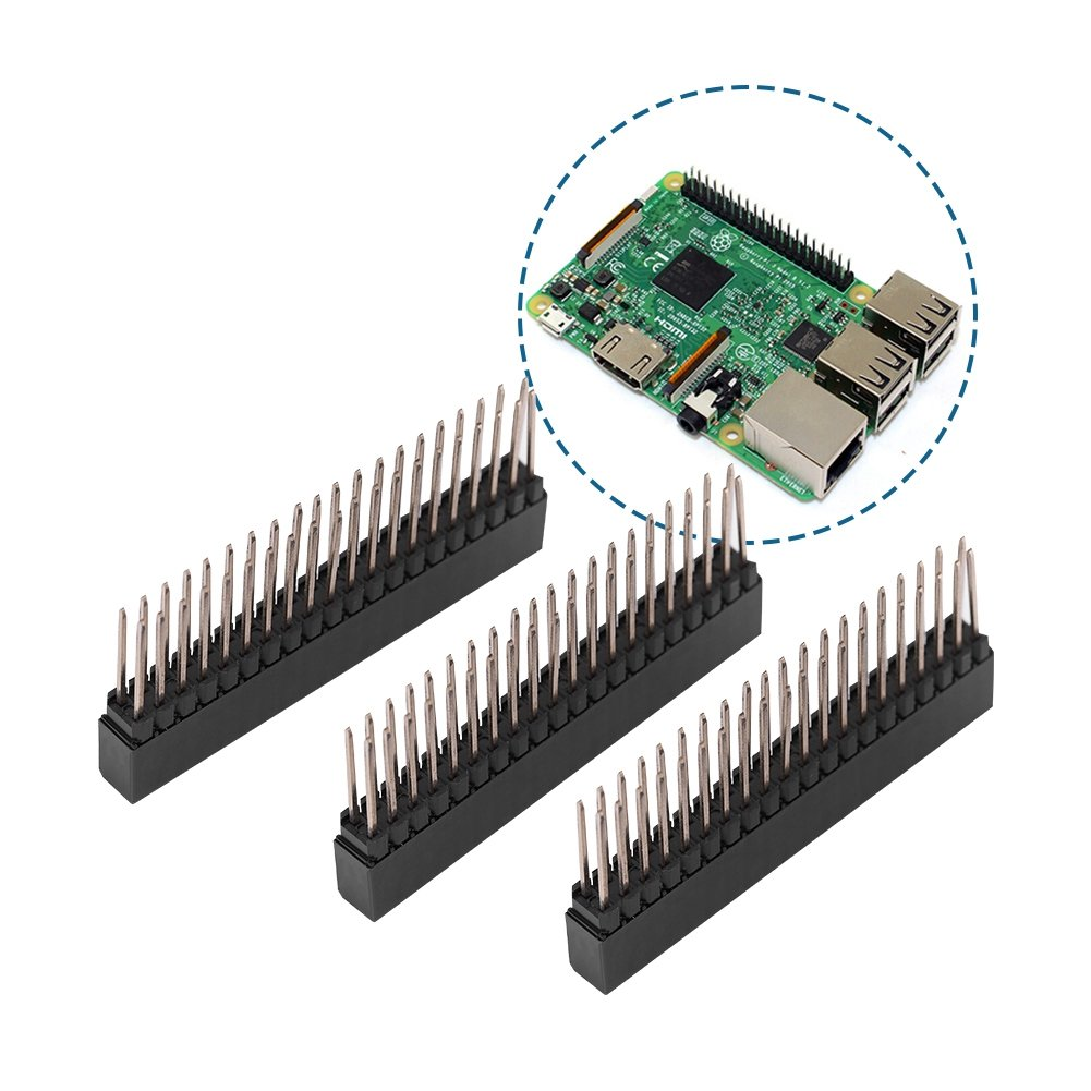 Bewinner 3pcs 2 x 20 Pins Female Pin Header 2.54mm Pin Headers Extra Tall Female Dual Row Short Pin Headers for PCB Board//Raspberry Pi Dedicated for Connection Interface
