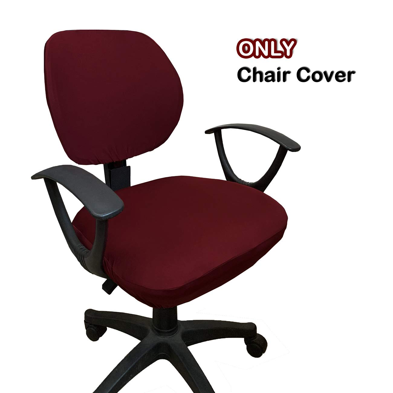 WOMACO Desk Chair Cover, Computer Office Chair Covers Removable Universal Chair Covers Stretch Rotating Chair Slipcover (Wine Red)