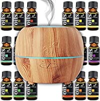 ArtNaturals Aromatherapy Essential Oil and Diffuser Set - 150ml & Top 16 - Peppermint, Tee Tree, Rosemary, Orange, Lemongrass, Lavender, Eucalyptus, & Frankincense - Auto Shut-off and 7 Color LED Lights - Therapeutic Grade