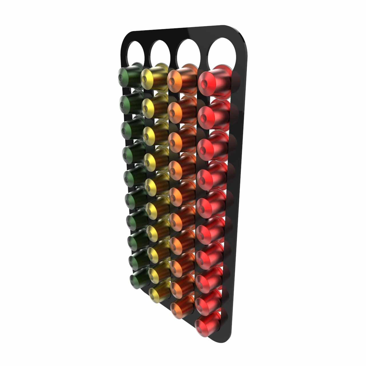 Nespresso coffee capsule pod holder wall mounted holds 40 capsules Free Trolley Token Material Sample Included per Shipment Black