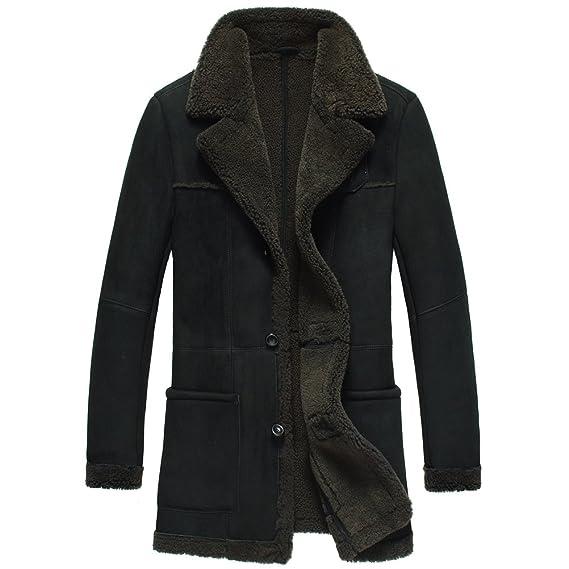 50631b93165 CWMALLS Men s Sheepskin Shearling Coat Black CW878261  Amazon.co.uk ...