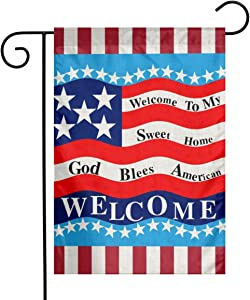 God Bless American Welcome To My Sweet Home Wava Flag 13 Star Flax Nylon Burlap Linen Fabric Garden Flag Farmhouse Decorations Mailbox Decor Welcome Sign 12x18 Inch Small Mini Size Double Sided