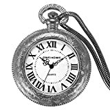JewelryWe Unisex Pocket Watches Novelty USB Rechargeable Windproof Flameless Cigarette Lighter Pedant Watches for Fathers Day Gifts