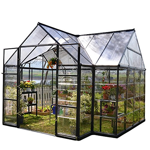 Palram Four Season Chalet Hobby Greenhouse – 12 x 8 x 9 Charcoal Gray