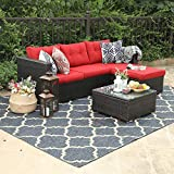 Best Outdoor Furniture - PHI VILLA 3-Piece Outdoor Rattan Sectional Sofa- Patio Review