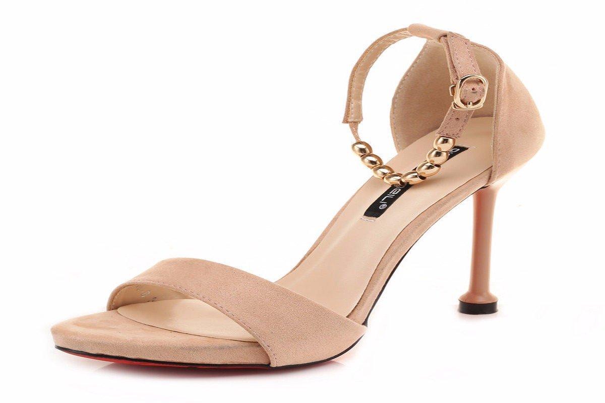 HBDLH Damenschuhe Sommer 10Cm Hochhackige Schuhe Sandalen und Schlanke Schuhe mit Einem Einzigen Wort.