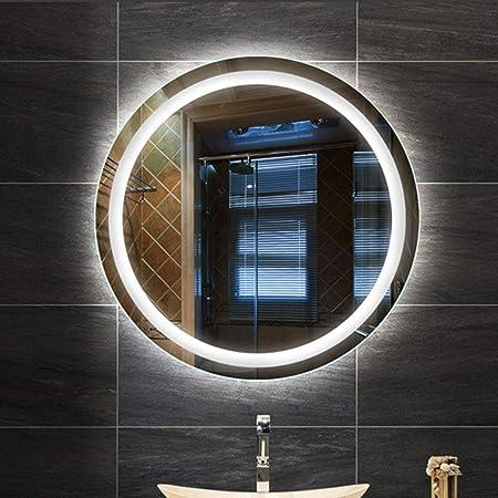 Badezimmerspiegel Gross.Delm Modern Badspiegel Led Beleuchteter Badezimmerspiegel Gross Rundspiegel 12v Energieeinsparung Anti Fog 60 Cm 70 Cm 80 Cm Amazon De Kuche Haushalt